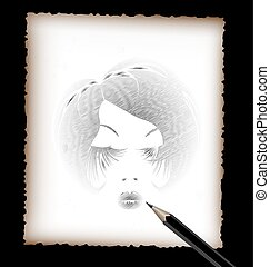 pencil and the image of black head