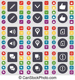 Pencil, Arrow down, Like, Sound, Checkpoint, File, Chat, Copy, Information icon symbol. A large set of flat, colored buttons for your design. Vector
