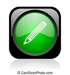 pencil black and green square web glossy icon