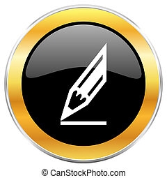 Pencil black web icon with golden border isolated on white background. Round glossy button.