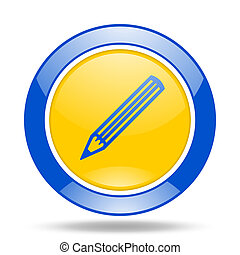 pencil blue and yellow web glossy round icon