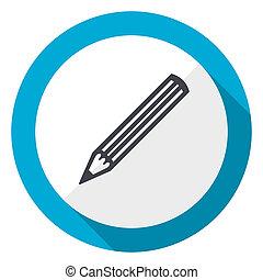 Pencil blue flat design web icon