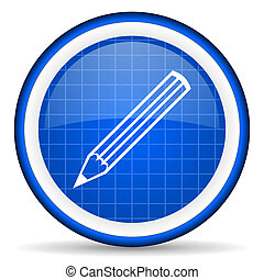pencil blue glossy icon on white background