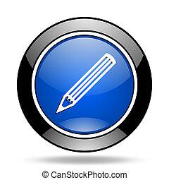 pencil blue glossy icon