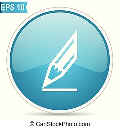 Pencil blue glossy round vector icon in eps 10. Editable modern design internet button on white background.