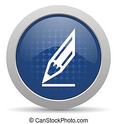pencil blue glossy web icon