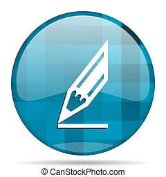pencil blue round modern design internet icon on white background