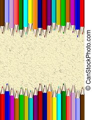 Pencil borders - Two rows of different colored pencils with ...