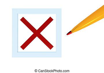 box check decline - pencil box check decline 3d