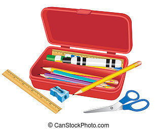 Pencil Box with ruler, marker pens, scissors, pencils and...
