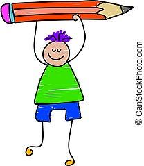 little boy holding giant pencil