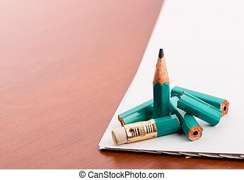Pencil broke into pieces
