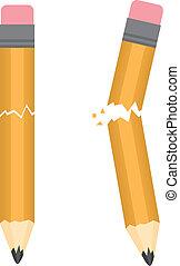 Pencil Broken  - Pencil broken snapping in two