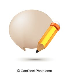 Pencil Bubble Balloon Text Symbol Vector