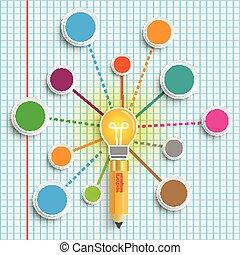 Pencil Bulb Circles Network Infographic