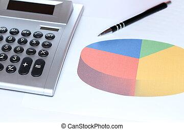 pencil, calculator and charts