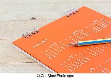 pencil., calendário, closeup, página