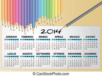 pencil calendar italian 2014