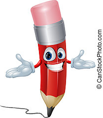Pencil cartoon character - Illustration of a happy fun...