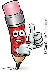 Pencil Cartoon Character Mascot