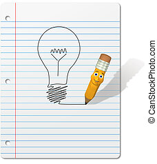 Pencil cartoon drawing Light Bulb on Notebook Paper