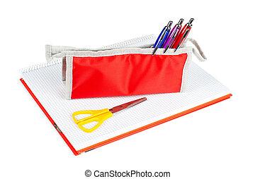 Pencil case and scissors
