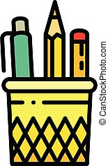 Pencil case glass icon, outline style