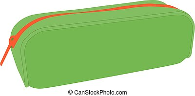 Pencil case green realistic vector illustration isolated