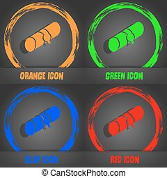 pencil case icon. Fashionable modern style. In the orange, green, blue, red design. Vector