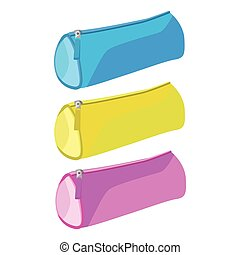 Pencil case vector purpure realistic on a white background