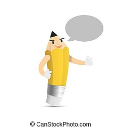 Pencil character cartoon design and speech bubble text box...