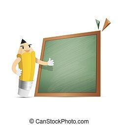 Pencil character cartoon design and text box green board...