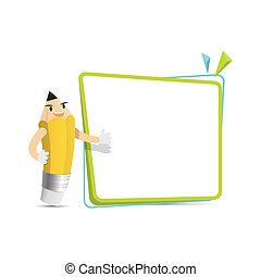 Pencil character cartoon design and text box frame for...