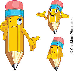 Pencil Character facial expression - Pencil Character...