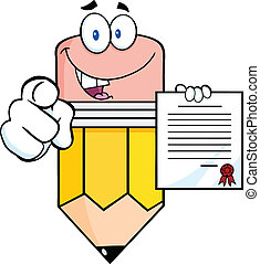 Pencil Cartoon Character Pointing With Finger And Holding A Contract