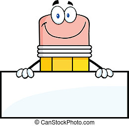Pencil Character Over Blank Sign - Smiling Pencil Cartoon...