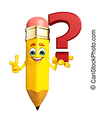 Pencil Character with question mark