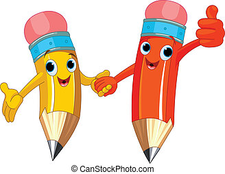 Pencil Characters - Two cute pencils holding hands