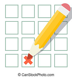 Pencil Check Option Vector Illustration