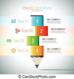 Pencil Color Block Infographic