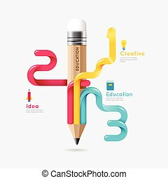 Pencil colorful science and education line concept vector design. illustration