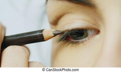Pencil colors upper eyelid female eye