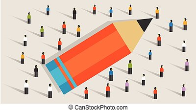 pencil concept of education crowd working together learning study strength as a team unity helping multicultural