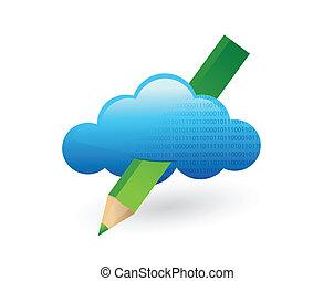 pencil., conception, nuage, illustration
