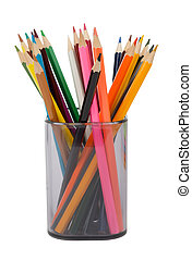 Pencil cup with crayons, front view