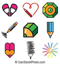 pencil design icons set