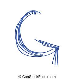 Pencil doodle of a blue curved arrow
