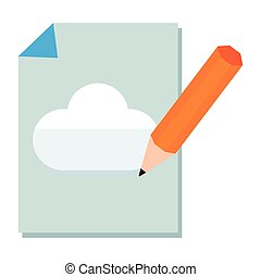 pencil drawing a cloud in sheet of notebook