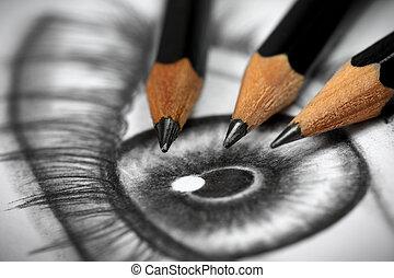 Pencil drawing - Close up of an eye drawing and three...