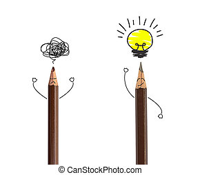 pencil drawing light bulb on white, idea concept.